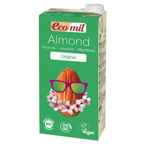 Растительное молоко Миндальное с сиропом агавы без сахара Ecomil 1 л