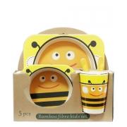Набор детской эко-посуды из бамбука Пчелка желтая