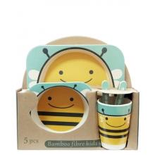 Набор детской эко-посуды из бамбука Пчелка голубая
