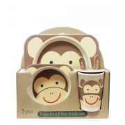 Набір дитячої еко-посуду з бамбука Мавпочка коричнева
