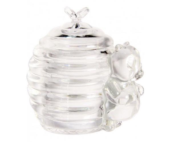 Сахарница медовница стеклянная с крышкой Пчелка 200 мл