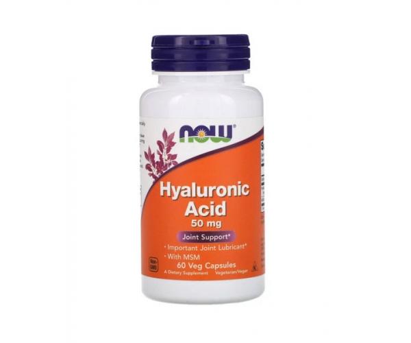 Гиалуроновая кислота Now Foods 50 мг + МСМ 60 капсул