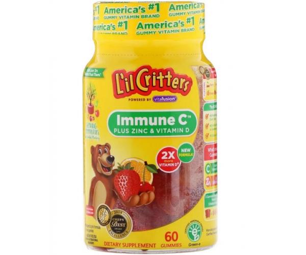 Витамин C для детей L'il Critters Immune C плюс цинк и витамин D 60 жевательных таблеток