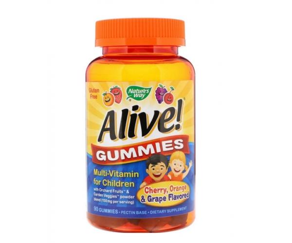 Мультивитамины для детей Nature's Way Alive! вишня, апельсин и виноград 90 жевательных конфет