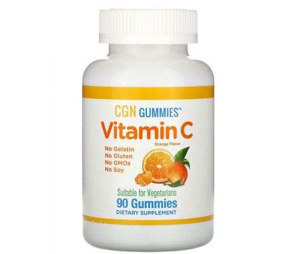 Витамин C для детей California Gold Nutrition натуральный апельсиновый вкус 90 жевательных таблеток