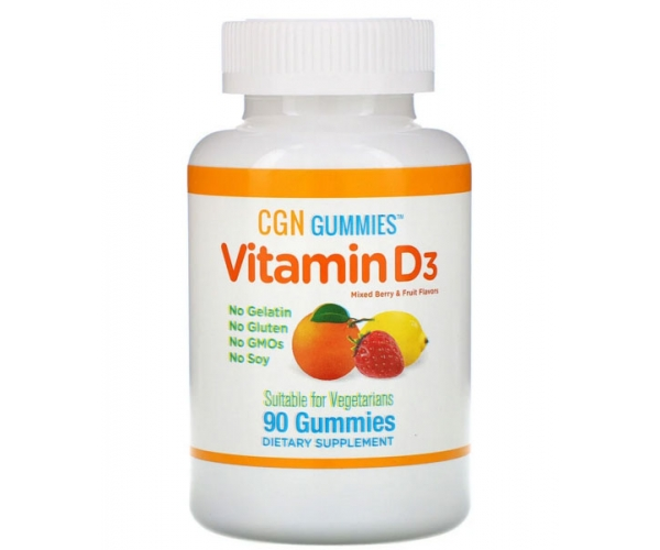 Витамин D3 для детей California Gold Nutrition со вкусом ягод и фруктов, 2000 МЕ, 90 жевательных таблеток